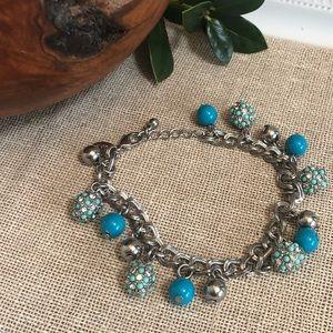 Lia Sophia Turquoise Beaded Charm  Bracelet